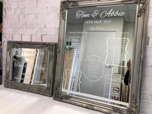 Silver Mirror Table Plan & Welcome Sign