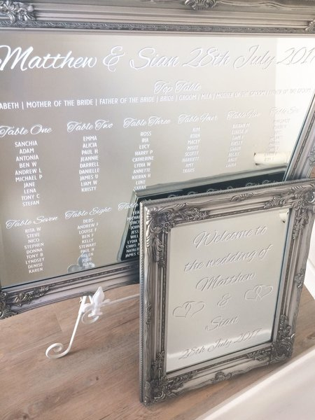 Mirror Table Plan and Welcome Sign: Silver Antique Frames - The ...