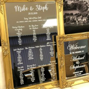 Gold Mirror Table Plan & welcome Sign