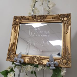 Gold mirror sign