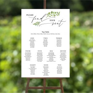 Printed 'Leaf' Table plan