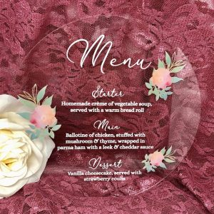 Flower Circle Acrylic Menu