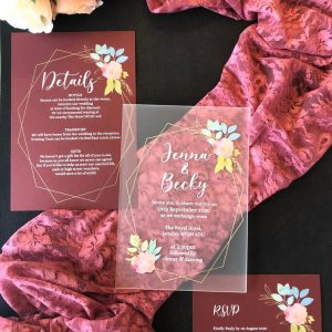 rosted acrylic invitation