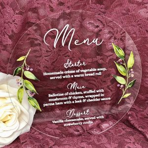 Leaf Circle Acrylic Menu